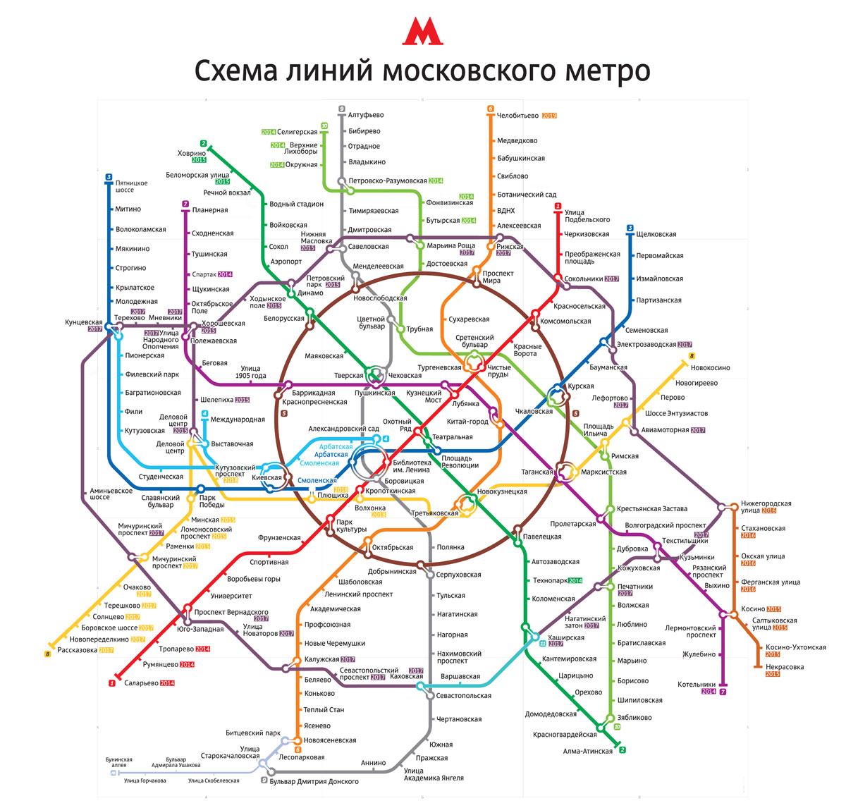 Новая схема метро Москвы